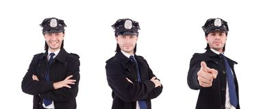 Полицейский изолированное на белизне стоковые изображения rf