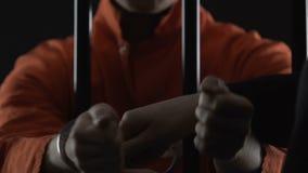 Полицейский кладя наручники на мужской пленника стоя за барами клетки, тюрьму сток-видео