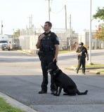 Полицейский стоит около его партнера K-9 Стоковая Фотография