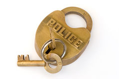 полиции замка блока латунные ключевые Стоковые Фотографии RF