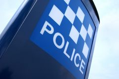 полиции подписывают Великобританию Стоковые Фотографии RF