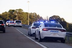 Полиция баррикад контрольный пункт стоковые изображения rf