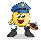Полиция смайлика ест иллюстрацию шаржа вектора талисмана донута иллюстрация штока