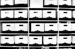 полка архива коробок Стоковая Фотография RF