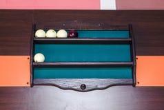 Полка для шариков биллиарда Аксессуары к таблице биллиарда Стоковая Фотография RF