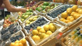 Полка плодоовощ на гастрономе сток-видео