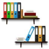 Полки офиса с книгами и шаблоном связывателей иллюстрация вектора
