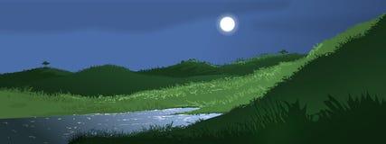 полная луна ландшафта Стоковая Фотография