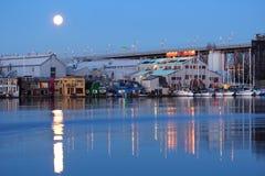 полная луна острова granville над vancouver Стоковое фото RF