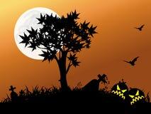 полная ноча луны halloween Стоковое Фото