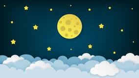 Полнолуние, звезды, и облака на темной полуночной предпосылке неба Предпосылка пейзажа ночного неба бумажный стиль искусства бесплатная иллюстрация