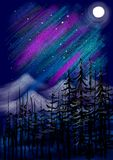 Полнолуние с холмами и ландшафтом картины деревьев абстрактным Стоковая Фотография