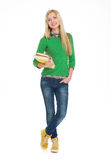 Полнометражный портрет девушки студента с книгами Стоковое фото RF