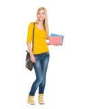 Полнометражный портрет девушки студента с книгами Стоковое Фото