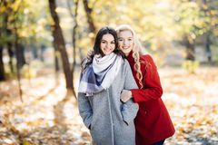 Полнометражный портрет молодой женщины представляя с подругой в парке осени Стоковое фото RF