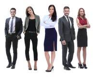 Полностью рост босс и его команда дела стоя совместно стоковые изображения rf