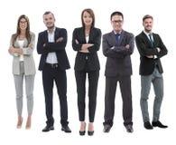 Полностью рост босс и его команда дела стоя совместно стоковая фотография rf