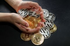 Полные оружия монеток cryptocurrency с кучей монеток ревут Стоковые Фото