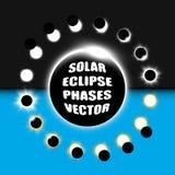 Полный и частично комплект элементов дизайна вектора солнечного затмения Стоковое Изображение RF