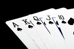 Полный комплект карточки покера выигрыша Стоковые Фотографии RF