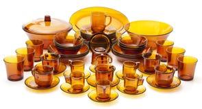 полный комплект стекла тарелки Стоковая Фотография