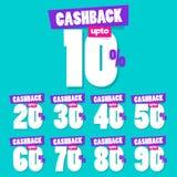 Полный набор 10% до 90% бирок продажи вектора Cashback иллюстрация вектора