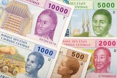 Полный набор центрально-африканских денег, предпосылки стоковое изображение rf