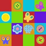 Половик детей безшовный цветастый иллюстрация штока