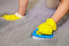 Половик меха faux женщины чистый с щеткой Стоковая Фотография RF