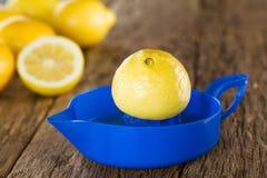 Половина лимона на Squeezer цитруса стоковые фотографии rf
