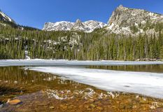 Половина отражений озера папоротник замороженных стоковое фото