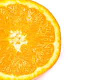 Половина свежего апельсина на белой предпосылке Стоковое фото RF