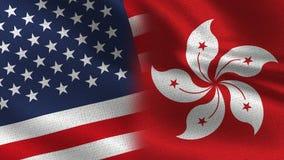 Половина США Гонконга реалистическая сигнализирует совместно иллюстрация вектора