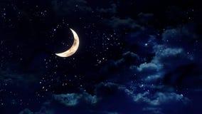 Половинная луна в ночном небе стоковое изображение rf