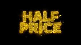 Половинное оформление цены написанное с золотыми частицами искрится фейерверки