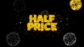 Половинной цены золотые текста моргать частицы с золотым дисплеем фейерверков