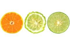 Половины апельсина, известки kaffir и известки Стоковое Фото