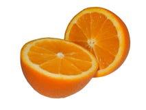 2 половины апельсина на изолированной белой предпосылке Стоковая Фотография
