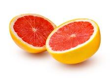 2 половины грейпфрута изолированной на белизне Стоковое Изображение RF