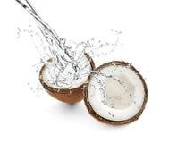 Половины кокоса на белизне стоковая фотография rf