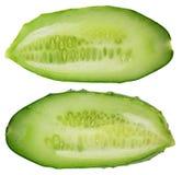 2 половины реального свежего короткого зеленого европейского огурца Стоковая Фотография RF