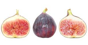половины свежих фруктов смоквы изолировали белизну Стоковое Изображение