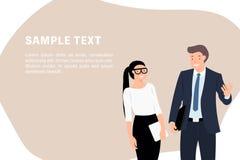Положение бизнесмена и женщины шаблона знамени дизайна характера людей мультфильма говоря жизнерадостно бесплатная иллюстрация