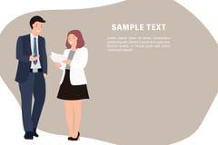 Положение бизнесмена и женщины шаблона знамени дизайна характера людей мультфильма говоря жизнерадостно иллюстрация штока