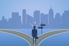 Положение бизнесмена на перекрестке и выбирает путь Концепция выбора самое лучшее решение для будущего или дела r бесплатная иллюстрация
