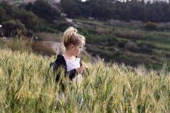 положение девушки поля золотистое Стоковая Фотография