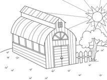 Положение земледелия Ангар для еды для животных barman Вектор книжка-раскраски книги, шаржа детей иллюстрация вектора
