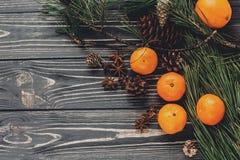 Положение квартиры изображения рождества зеленые ветви ели с tangerine и Стоковые Изображения RF