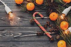 Положение квартиры изображения рождества tangerine и анисовка конфеты рождества Стоковые Фотографии RF