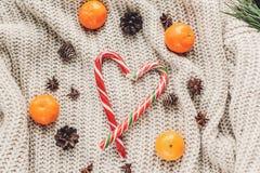 Положение квартиры рождества уютный свитер с конусами анисовки и сосны конфеты Стоковые Изображения
